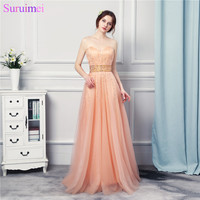 Long Beaded Evening Dresses Sweetheart Crystals Peach Orange Soft Tulle Floor Length Formal Evening Gown
