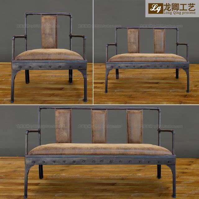 Nueva hierro antiguo de cuero de imitación de terciopelo sofá ...
