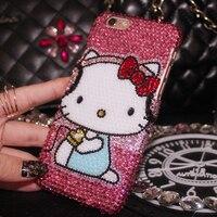 Für iPhone X Bling Kristall Luxus Rosa Hallo Kitty diamant-kasten für iphone 6 6 S 6 Splus 7 7 plus 8 8 plus 5 S SE stark fall geschenk