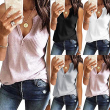 Women Tank Top Fashion V Neck Shirts Sleeveless Solid Waffle Knit Loose Fitting Tee Tops Chalecos Mujer 2019 Summer(China)