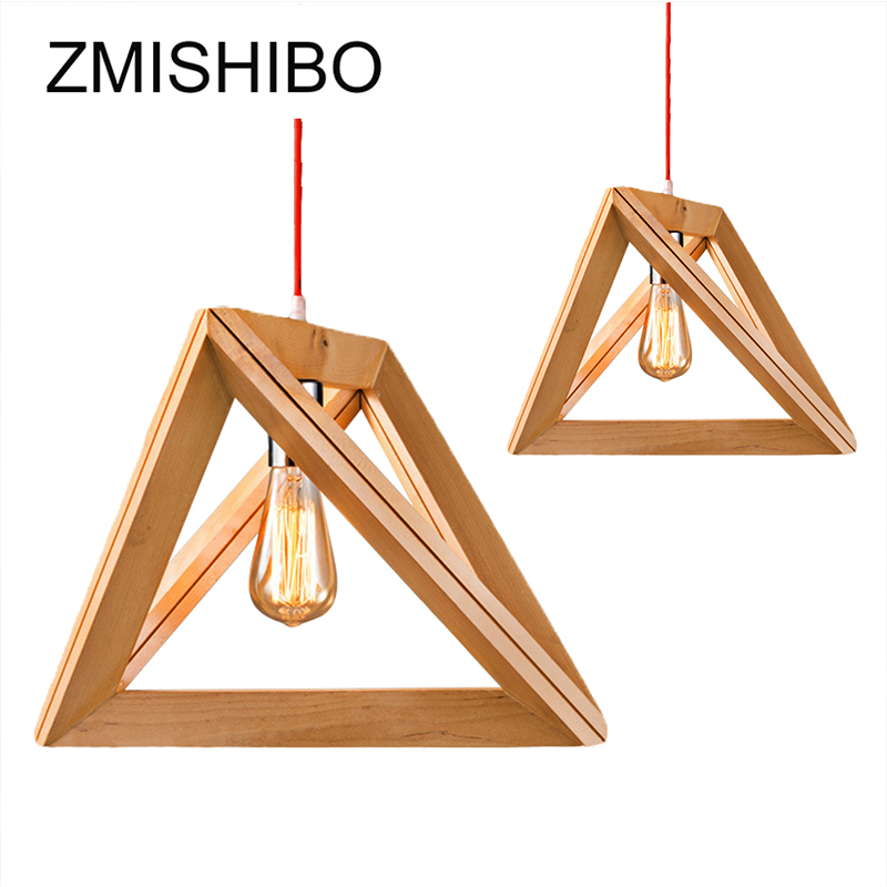 ZMISHIBO Country Style Wooden Pendant Lights E27 110-220V 1M Wire Triangle Decoration Lamp Droplight For Study Living Hotel Room