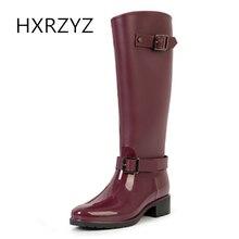HXRZYZ женщин дождь сапоги с длинными бочками резиновые сапоги на высоком каблуке моды дамы весна / осень скользкие водонепроницаемые женские туфли
