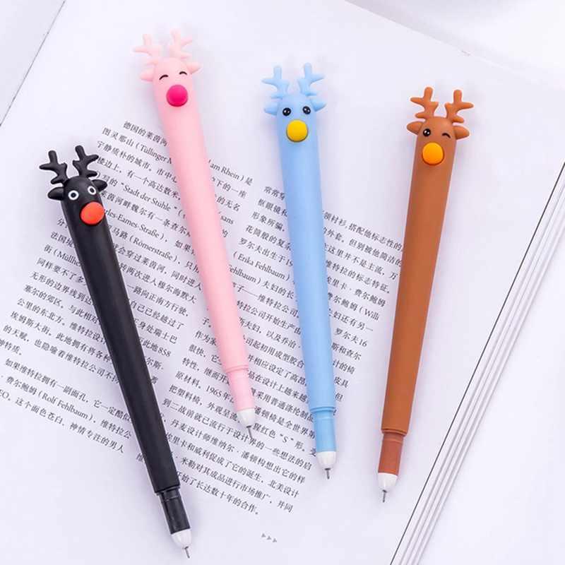 Festival Natal Rusa Gel Pen 0.5 MM Black Ink Gel Pen Kawaii Hadiah Alat Tulis Kantor Sekolah