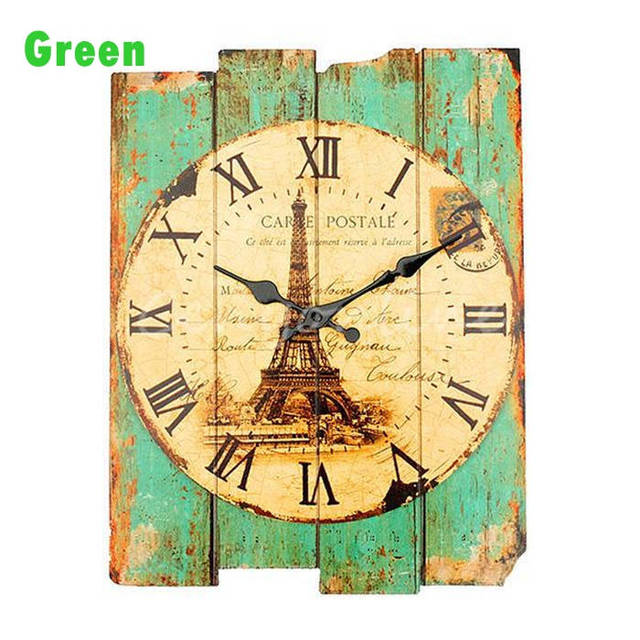 Hot sales Retro Vintage Rustic Wall Clock Shabby Chic Home Office ...