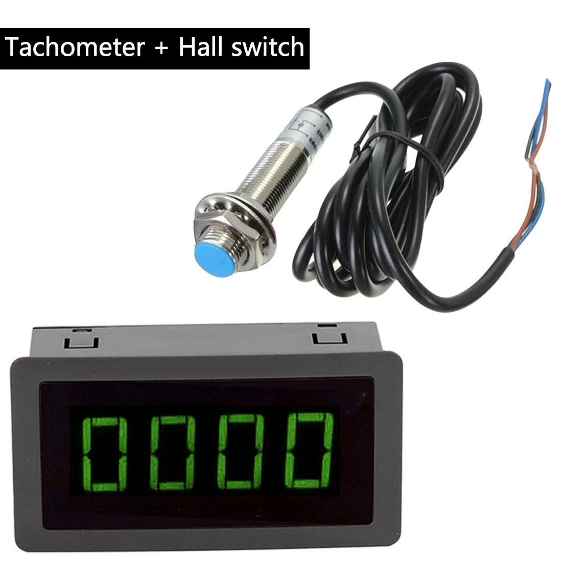 LED 4 Digital Blue Green Red Tachometer RPM Speed Meter+Hall Proximity Switch Sensor NPN Measuring Gauges