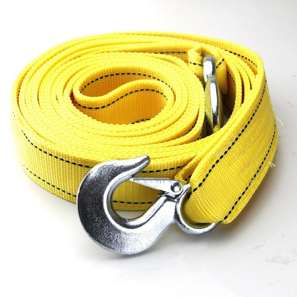 Car Tow Rope 4M Nylon Strap Heavy Duty 5 Tons Metal Hooks Emergency 13.1Ft