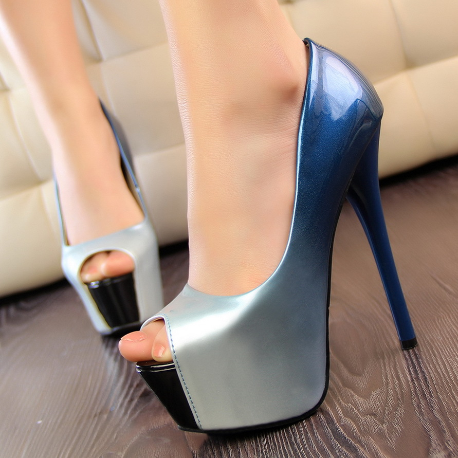 2015 spring sexy heels peep toe gradient color japanned leather shoes thin high platform red sole blue - Shoes_Boxes store