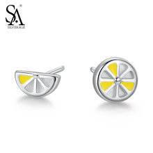 SA SILVERAGE Solid 925 Sterling Silver Yellow Lemon Stud Earrings for Women Fine Jewelry 2017 Valentines Gift
