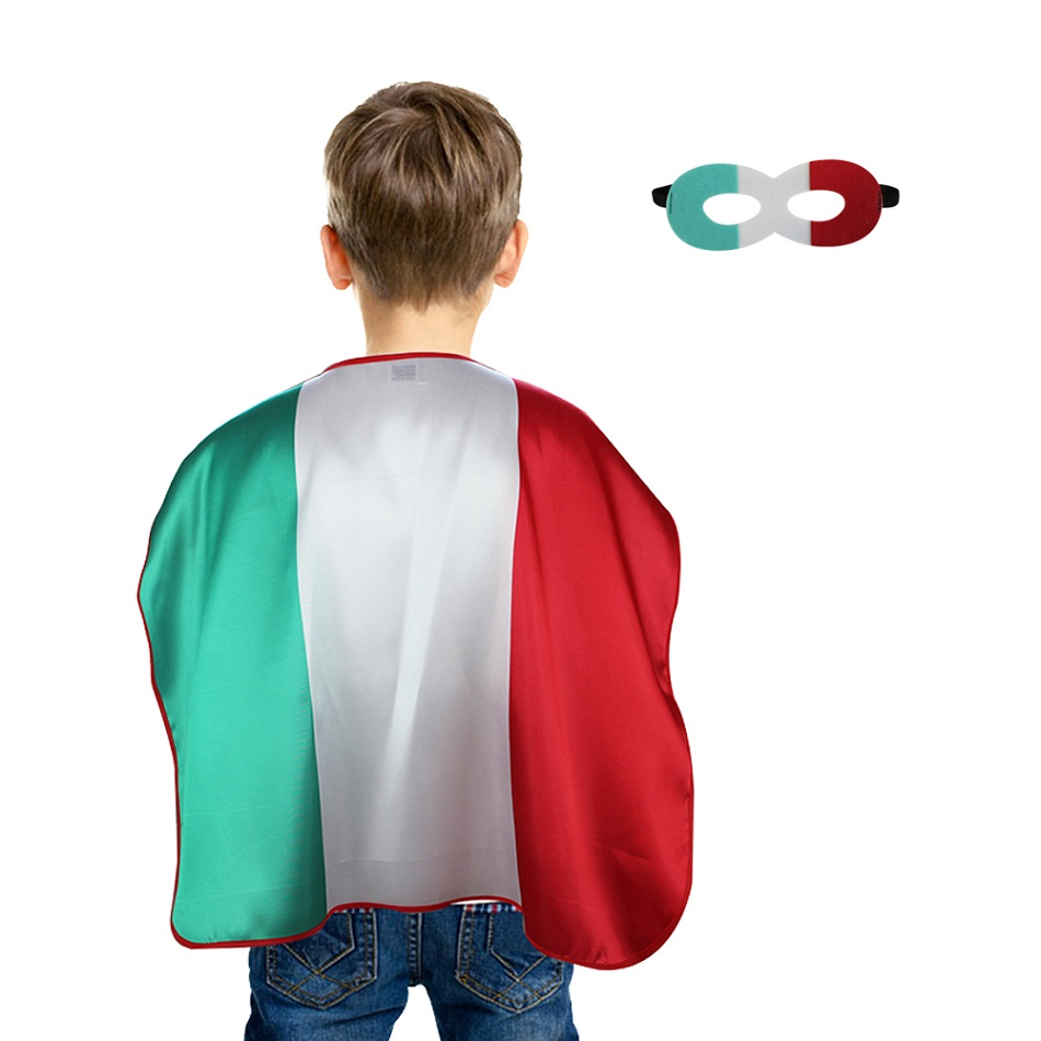 3-7 Y.O SPECIAL L 27* Italy Kids Cape Masks Costumes Soccer Fan Holding The Flag Of Italy Celebrates Cheering Decoration