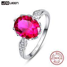 JQUEEN Vintage 2.5 Carats Ruby 925 Sterling Silver Ring Oval Cut Wedding Party Fine Jewelry Accessories With Gift box