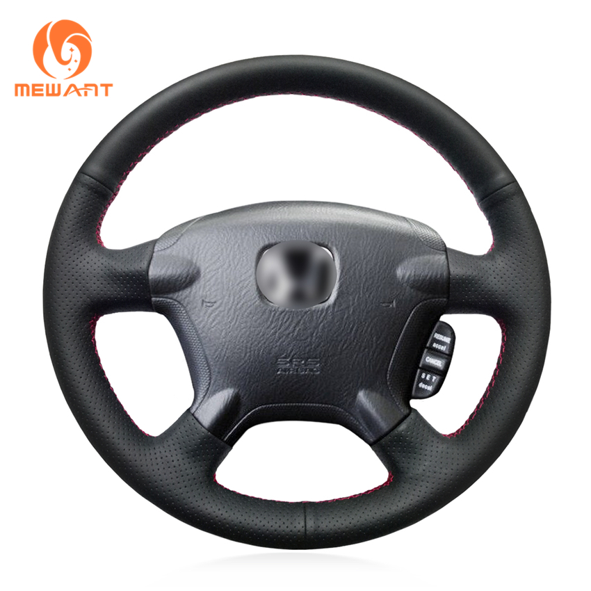 MEWANT Black Genuine Leather Car Steering Wheel Cover for Honda CR-V CRV 2002-2006 for honda crv cr v 2017 2018 stainless steel inner