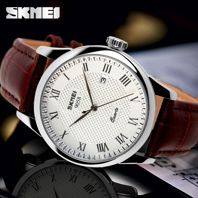 Men Quartz Wristwatches Luxury Brand Leather Business Casual Fashion Watch Men Clock Waterproof SKMEI Relogio Masculino Relojes skmei men s quartz watch fashion watches leather strap 3bar waterproof luxury brand wristwatches clock relogio masculino 9106