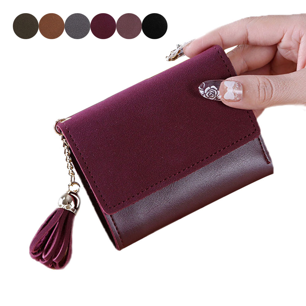 Vintage Coin Card Cash Invoice Small Purse Short Clutch Wallets Simple Fashion Women Tassels Hasp Triple Fold Wallet Popular fashion women wallets multi function high quality small wallets rivet love short design three fold wallet coin purse for women