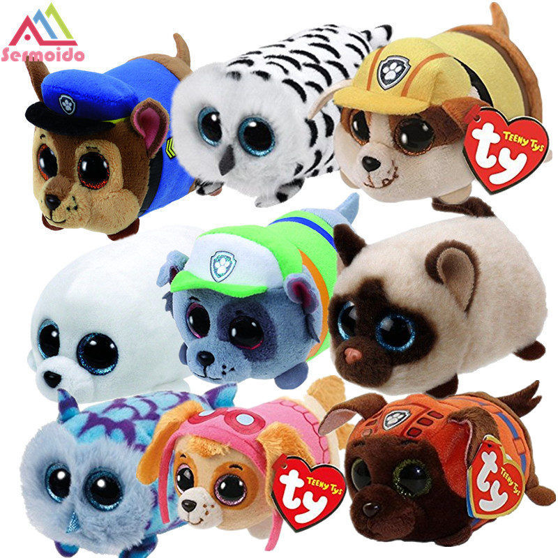 sermoido TY Beanie Boo Teeny Tys Plush Blue Owl 9cm Original Ty Beanie Boos Big Eyes Dog Plush Toy Doll Baby Kids Gift DBP117 мягкая игрушка ty beanie boo s котенок sophie 15 см