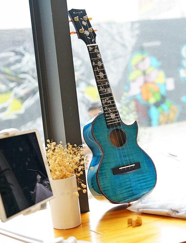 Flor huahai Enya Ukulele 5A Grau Bordo Chama Azul Ukuleles 23