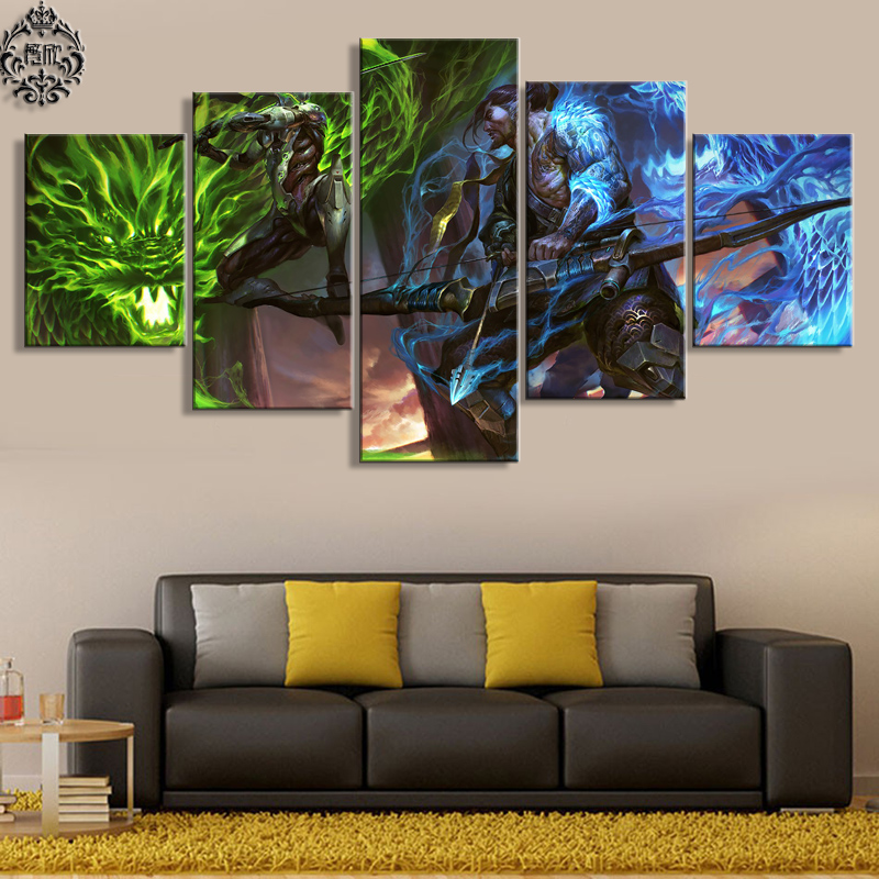 5-dílný herní plakát Overwatch Genji and Hanzo Canvas Painting Pictures Domů Decor for Living Room Wall Art Printed Artwork