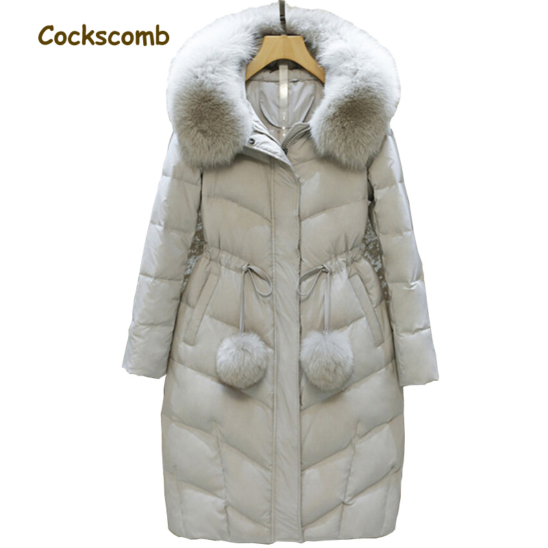 Natural fox fur collar fashion warm winter   down     coats   women white   down   jackets outerwear 2018 autumn winter