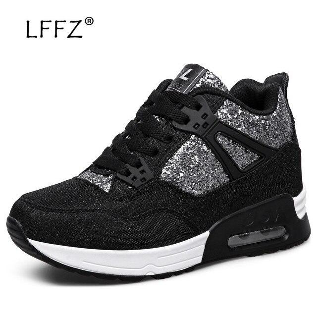 LFFZ New Fashion Flats Women Sequin Decoration Platform Sneakers Women Air Cushion Damping Flat Shoes Women Casual Sneakers