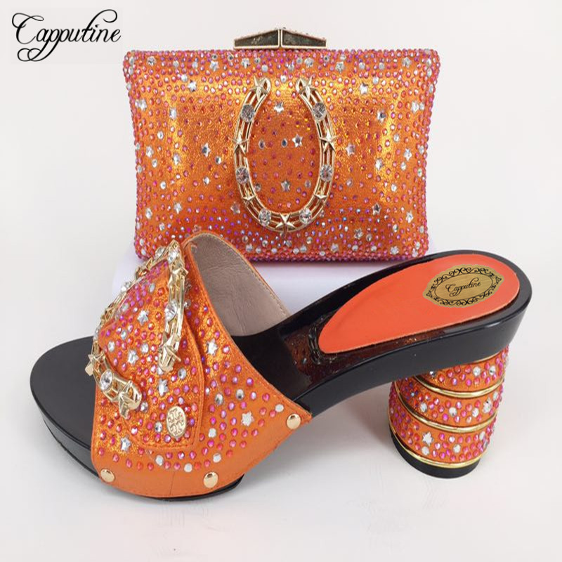 Capputine Orange Color Woman Custom Slipper Shoes And Bag Set New Italian Style Rhinestone Pumps Shoes And Bag Set For Party africa style pumps shoes and matching bags set fashion summer style ladies high heels slipper and bag set for party ths17 1402