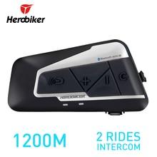 Herobiker 1200 м BT мотоциклетный шлем домофон Водонепроницаемый Беспроводной bluetooth гарнитуры Мото Переговорные с fm Радио для 2 поездки