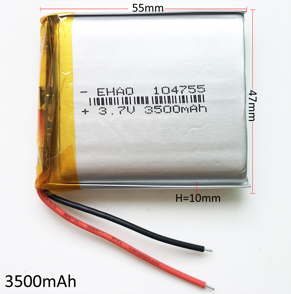 3.7V 3500mAh 104755 Lithium Polymer LiPo Rechargeable battery For GPS PSP Power bank Tablet PC speaker Laptop MID DVD PAD image