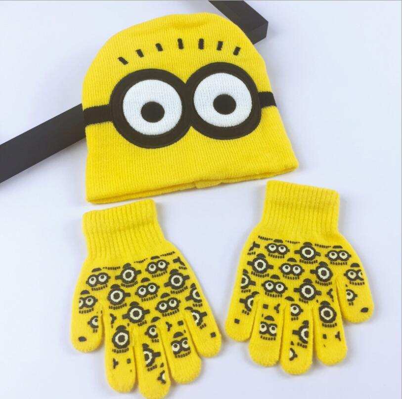 1 Set Despicable Me Hat Cartoon Hats Sets Fashion Kids Baby Warm Knitted Caps Gloves Beanies SM836