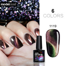 Modelones Newest 3D Two Line Chameleon Magnetic UV Gel Polish  Colorful Cat Eyes Led Nail Gel Varnish Soak Off  Magnet Gelpolish