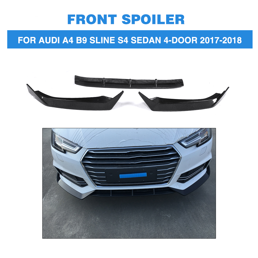 Carbon Fiber Front Bumper Lip Spoiler For Audi A4 B9 SLINE S4 Sedan 4 Door 2017 2018 ML Style FRP black Unpainted