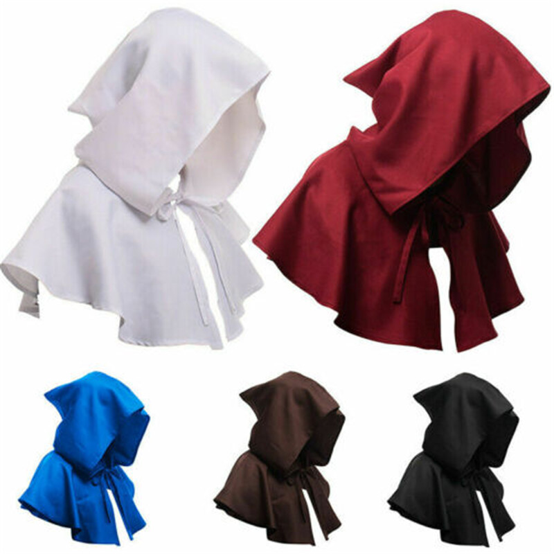 Unisex Adult Child Medieval Costume Hooded Cape Short Cloak Black White Blue Wine Red Brown Halloween Costumes Coat