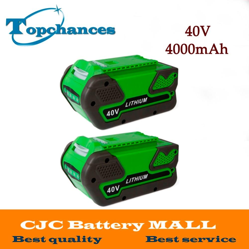 2PCS High Quality Newest 40V 4000mAh Replacement 40V 4.0AhLithium Battery for GreenWorks 29692 Gen1 Tools зарядное устройство duracell cef14 аккумуляторы 2 х aa2500 mah 2 х aaa850 mah
