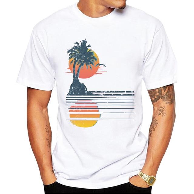 2017 Fashion Men S Summer Casual Tops 80s Retro Beach Printed T