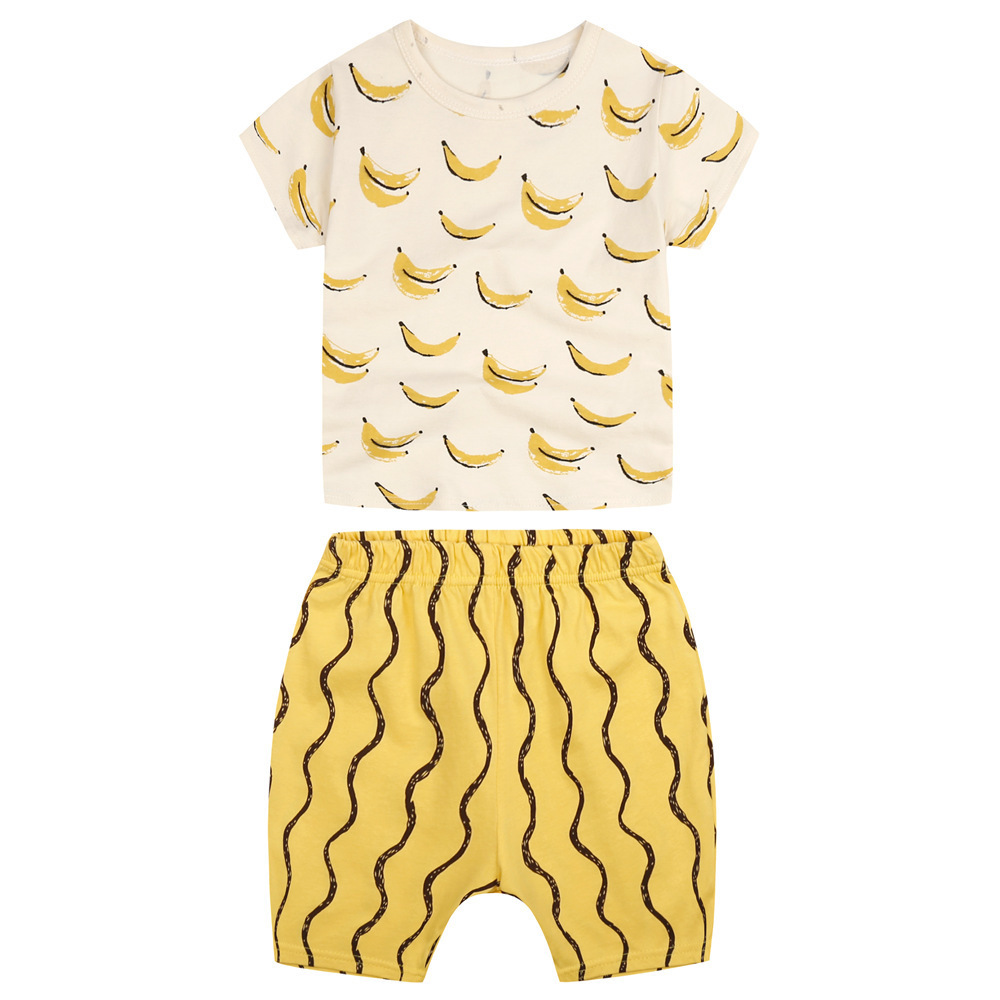 Boys Girls Clothes Sets For Kids Cute Banana Print T Shirt + Wave Shorts Baby Boys Sport Clothing 2pcs For Children Suit