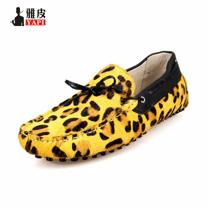 US 6-10 New Leopard Leather Men Slip On Loafers Casual Driving car Shoes moccasin