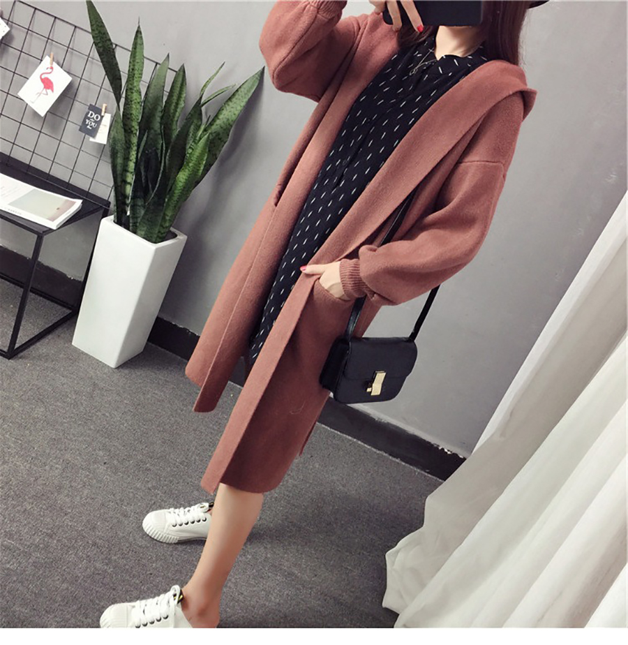Autumn Winter Women Long Cardigans Hooded Sweaters Casual Knitted Outwear Puff Sleeves for Fashion Girls Female Warm Clothing (13)