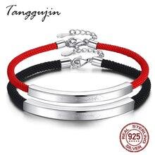 Tanggujin Couple Bracelets 925 Sterling Silver Rope Thread Bracelet For Women Men Lovers Trendy Jewelry Gift