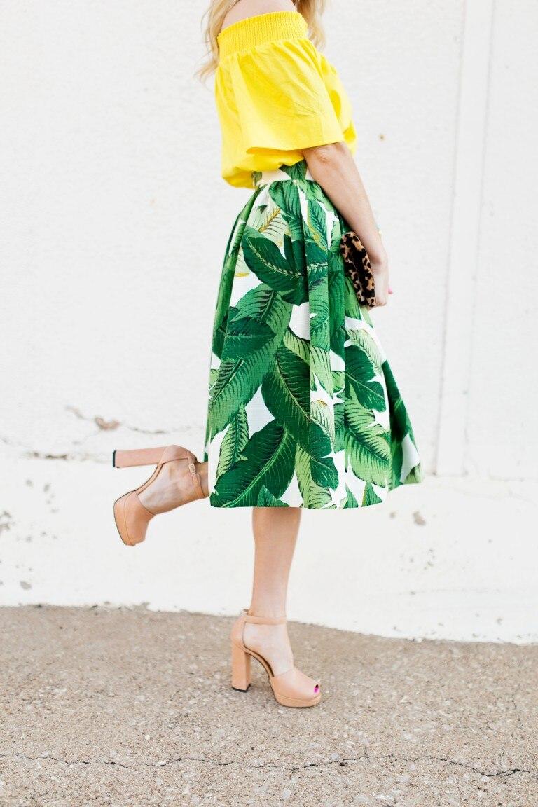 964b88a4148 Aliexpress.com   Buy 35 women vintage 50s palm banana leaf print high waist  swing midi skirt rockabilly pin up skirts plus size 4xl jupe falda from  Reliable ...