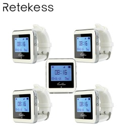 5pcs RETEKESS Watch Receiver Wireless Calling System Waiter Call Pager Restaurant Equipment Catering Customer Service F3288B