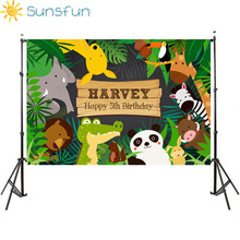 Sunsfun 7x5ft Cartoon Birthday Photography Backdrops Animals Lovely Newborn Tree Personal Customize Name Age Photographic Studio