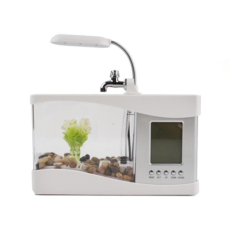 Acrylique mini aquarium LED pour aquarium éclairage lumière avec réveil pour salon bureau table décoration accessoires
