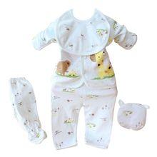 Newborn Baby Boy Girl 5 Pcs Clothing Set Cotton Cartoon Monk Tops Pants Bib Hats Infant Clothes 0-3 Months Hight Quality