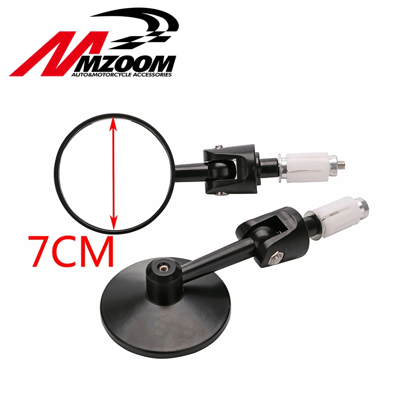 Motorcycle CNC Aluminum Universal Rear Rearview Side View 3 Handle Bar End 7/8 Mirrors Round Black NEW