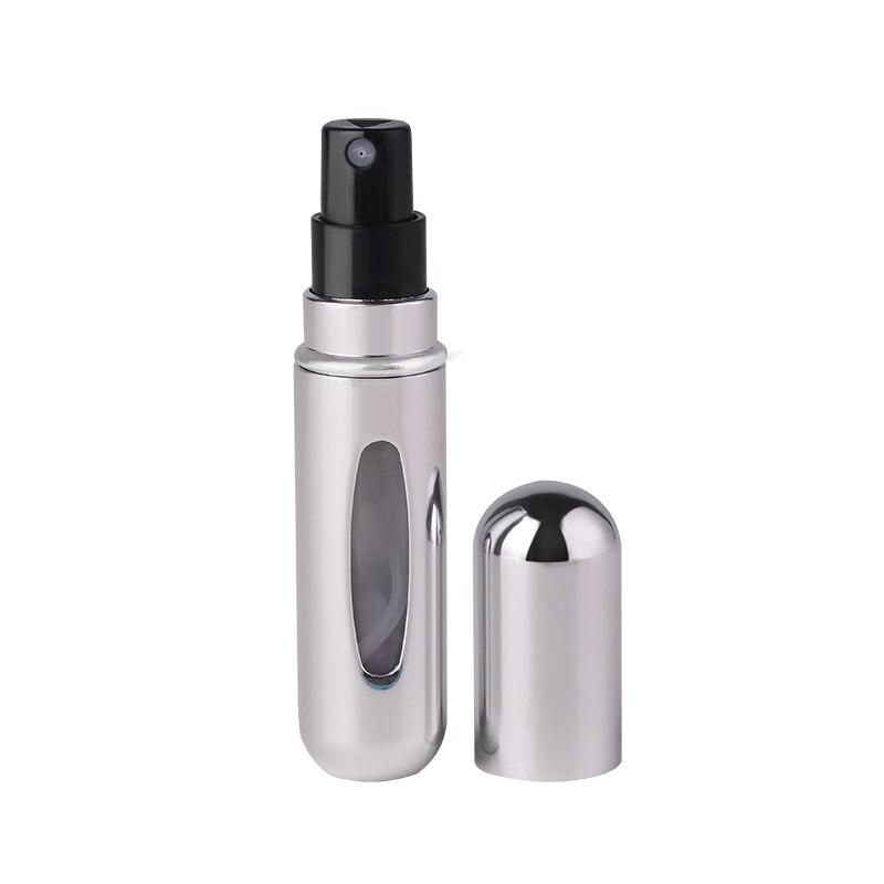 5 мл многоразовый мини флакон-спрей для духов Алюминиевый распылитель портативный дорожный косметический контейнер флакон для духов - Цвет: Bright silver