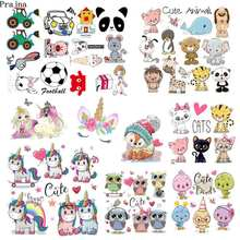 Prajna Cartoon Animal Unicorn Iron-On Transfers Vynil Heat Transfer Ironing Stickers T-shirts Thermal Patches For Clothing Decor