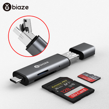 Biaze Card Reader USB 3.0 SD/Micro SD TF OTG Smart Memory Card Adapter for Laptop USB 3.0 Type C Cardreader SD Card Reader ugreen card reader usb 3 0 sd micro sd tf otg smart memory card adapter for laptop usb 3 0 type c cardreader sd card reader