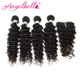 AngelBella 4 Bundles With Closure Peruvian Deep Wave With Closure Natural Color Weave Hair With Closure