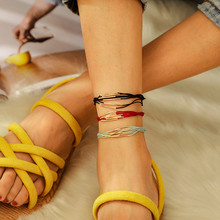 цена Unique Multi Layer Gold Color Sequins Anklets Bracelets Multi Color Rope Anklets Chain For Female Girl Party Women Jewelry онлайн в 2017 году