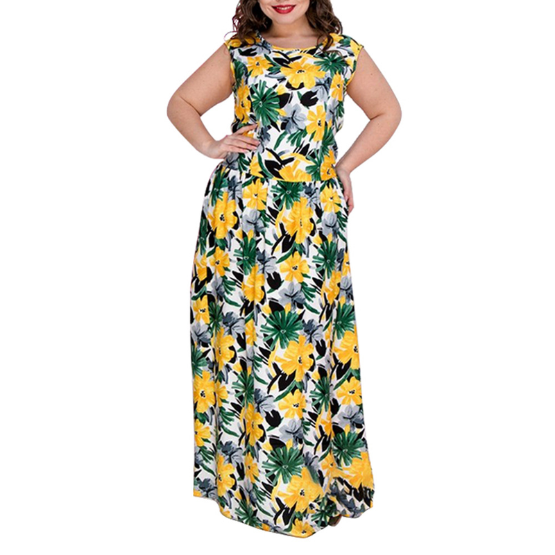 New Plus Size Maxi Dress Boho Style Printed Dress 2019 Floral Big Size Women Dress Beach Chiffon Large Size Long Summer Dresses in Dresses from Women 39 s Clothing