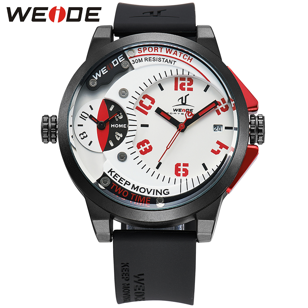 WEIDE 2017 Mens Watches Top Brand Luxury Leather Strap Quartz Men Dual Time Zone Analog Date Men Sport Army Military Wristwatch mens watches top luxury brand men leather strap watches quartz watch analog waterproof sports army military wristwatch relogios