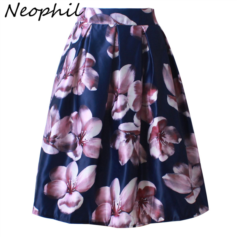 Neophil 2018 Retro Fashion Women Black White Pleated Flower Floral Print High Waist Midi Ball Gown Flare Short Skirts Saia S1225