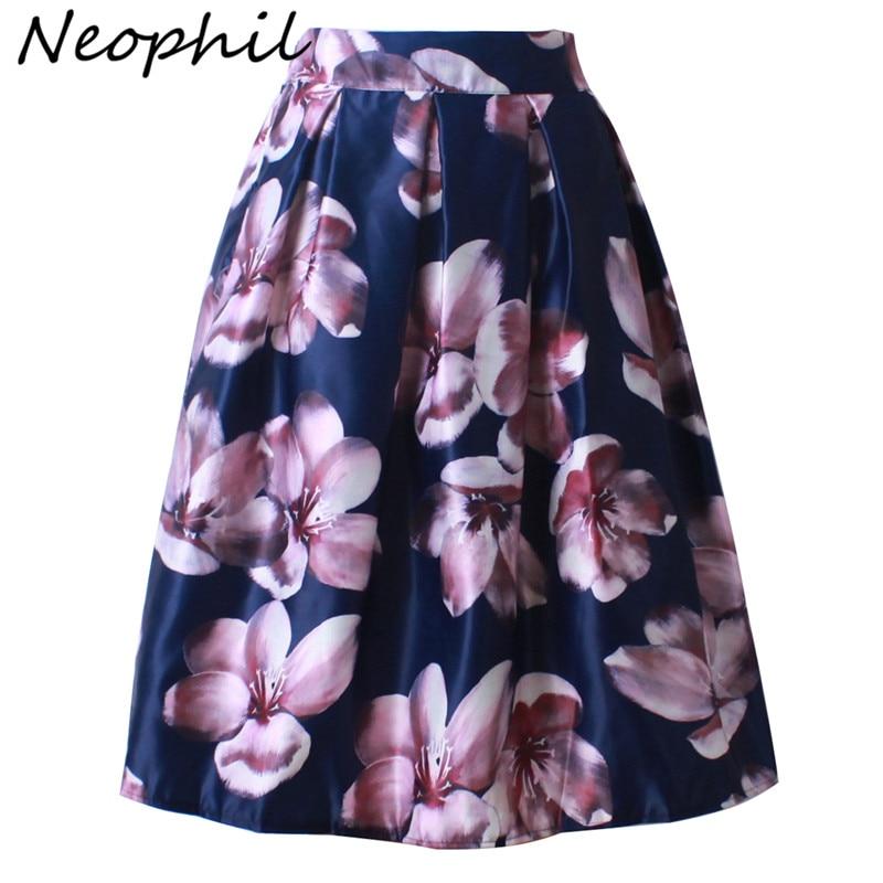Neophil 2020 Retro Fashion Women Black White Pleated Flower Floral Print High Waist Midi Ball Gown Flare Short Skirts Saia S1225